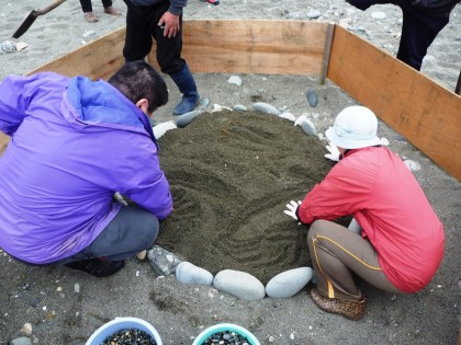 砂を敷き詰めます